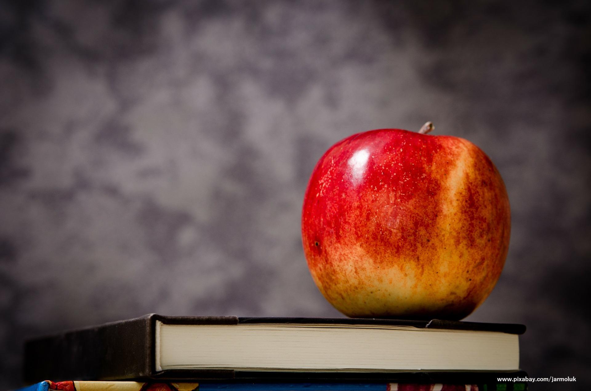 Jabłko położone na książce