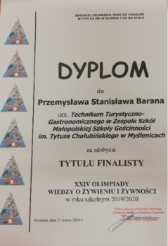Dyplom imienny finalisty Olimpiady Wiedzy o żywieniu i żywności