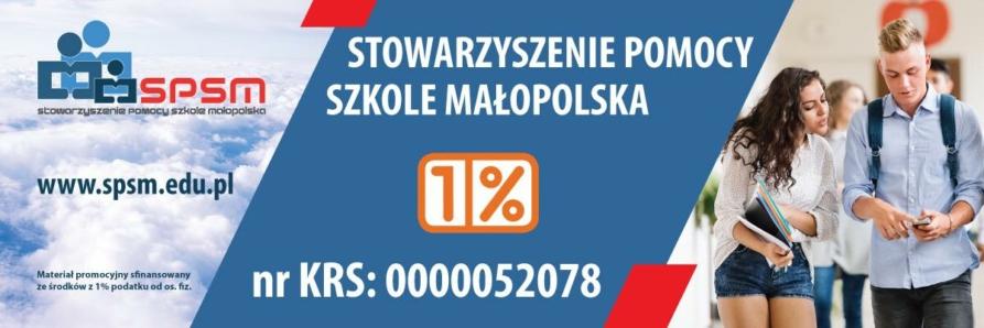 baner Stowarzyszenia Pomocy Szkole Małopolska, na zdjęciu dwoje uczniów, dziewczyna i chłopak