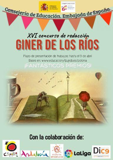 Plakat konkursu języka hiszpańskiego Giner de los Ríos