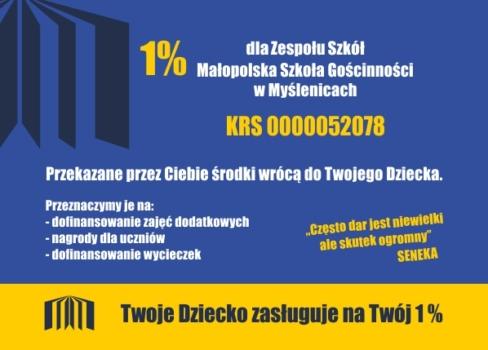 ulotka Stowarzyszenia Pomocy Szkole Małopolska z instrukcją jak przekazać szkole 1% podatku