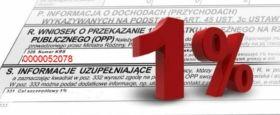 fragment formularza PIT a na nim duży, czerwony znak 1%