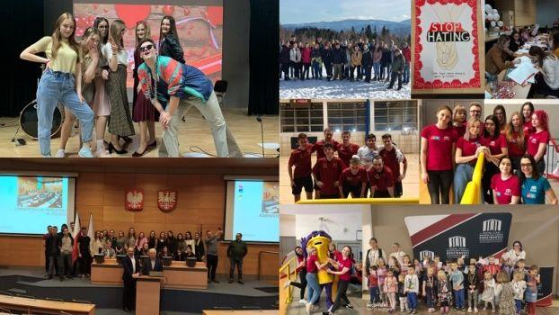 kolaż zdjęć z wydarzeń szkolnych