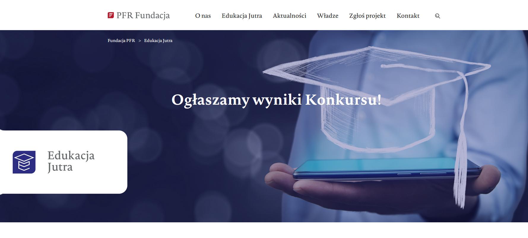 widok na stronę główną PFR dotyczącą konkursu Edukacja Jutra