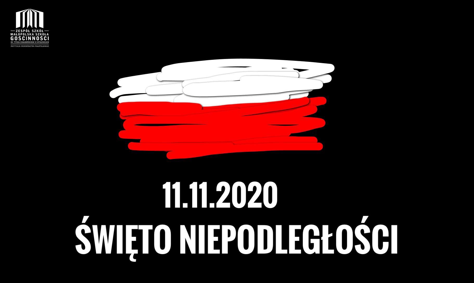 Plakat z flagą polski na czarnym tle z napisem święto niepodległości