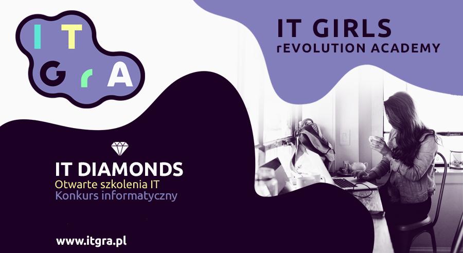 Plakat konkursowy IT Diamonds fioletowo-biały