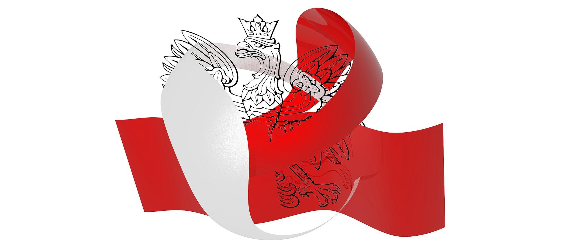 biało - czerwona flaga i orzeł w koronie