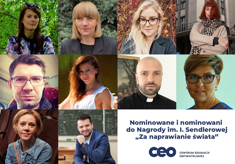 mozaika utworzona z twarzy kobiet i mężczyzn prezentująca nominowanych w konkursie imienia Ireny Sendlerowej