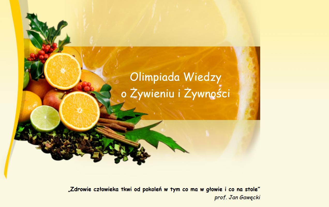 Zrzut ekranu strony startowej Olimpiady wiedzy o żywności i żywieniu prezentujący nazwę olimpiady oraz warzywa na żółtym tle.