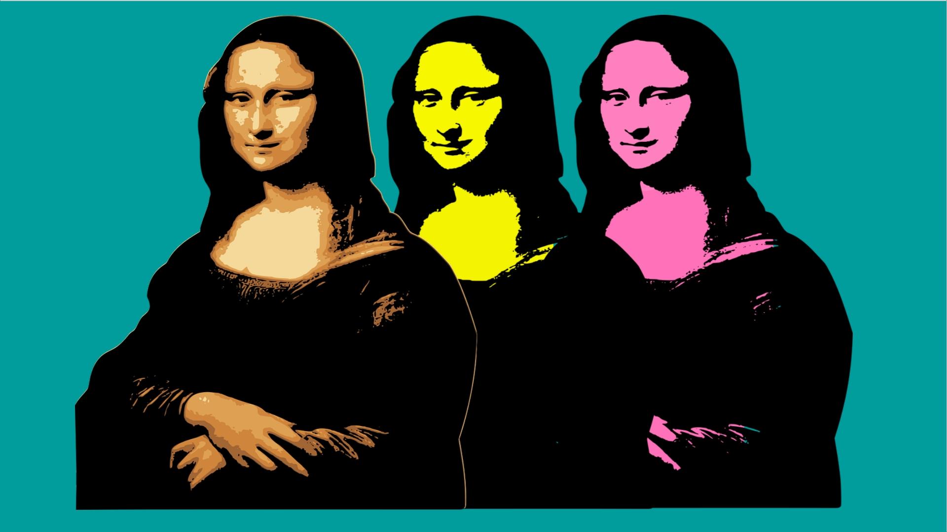 Mona Lisa w wersji pop art beżowa,różowa i zólta na turkusowym tle