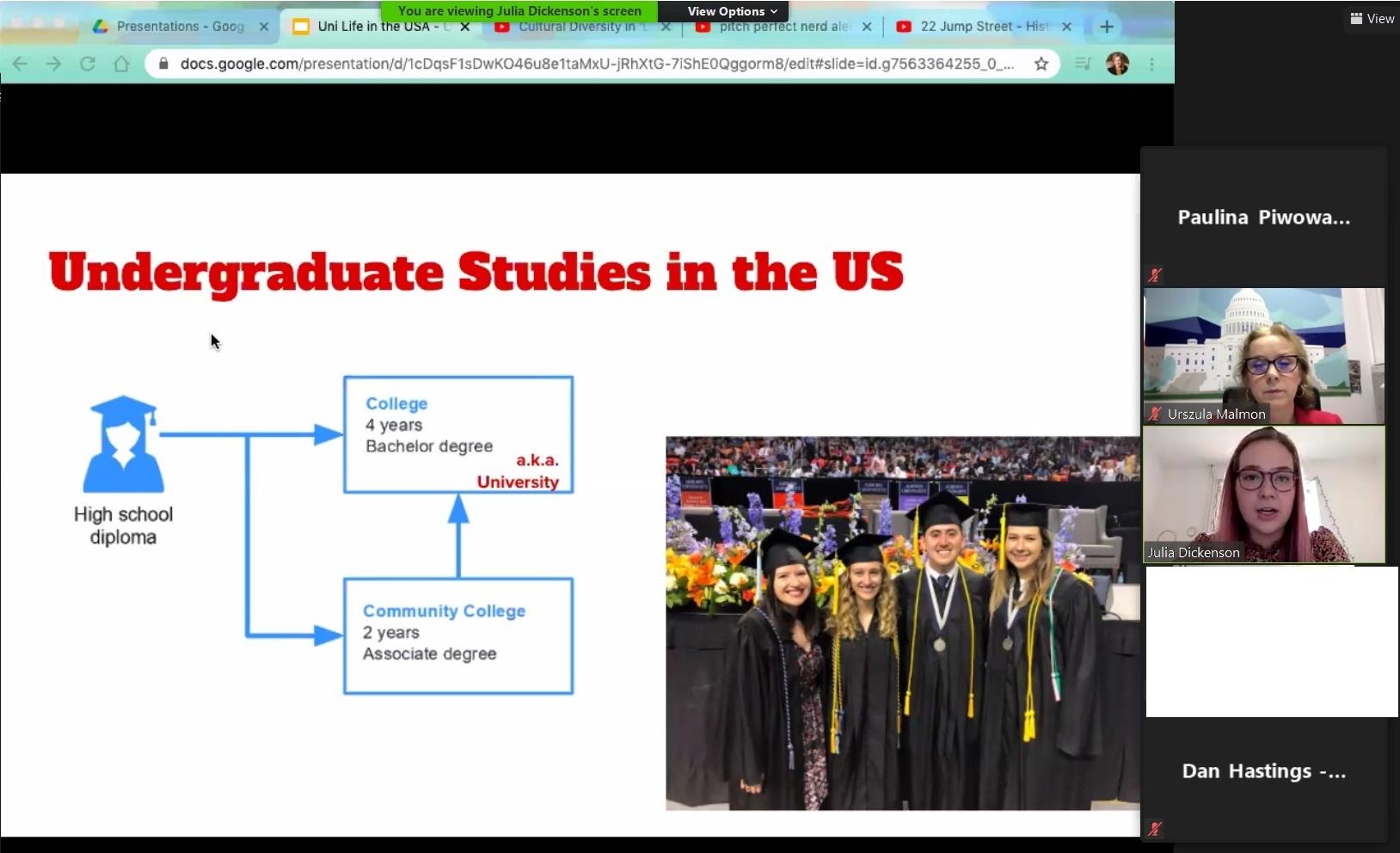 Zrzut ekranu prezentujący z slajd ze studentami amerykańskich uczelni