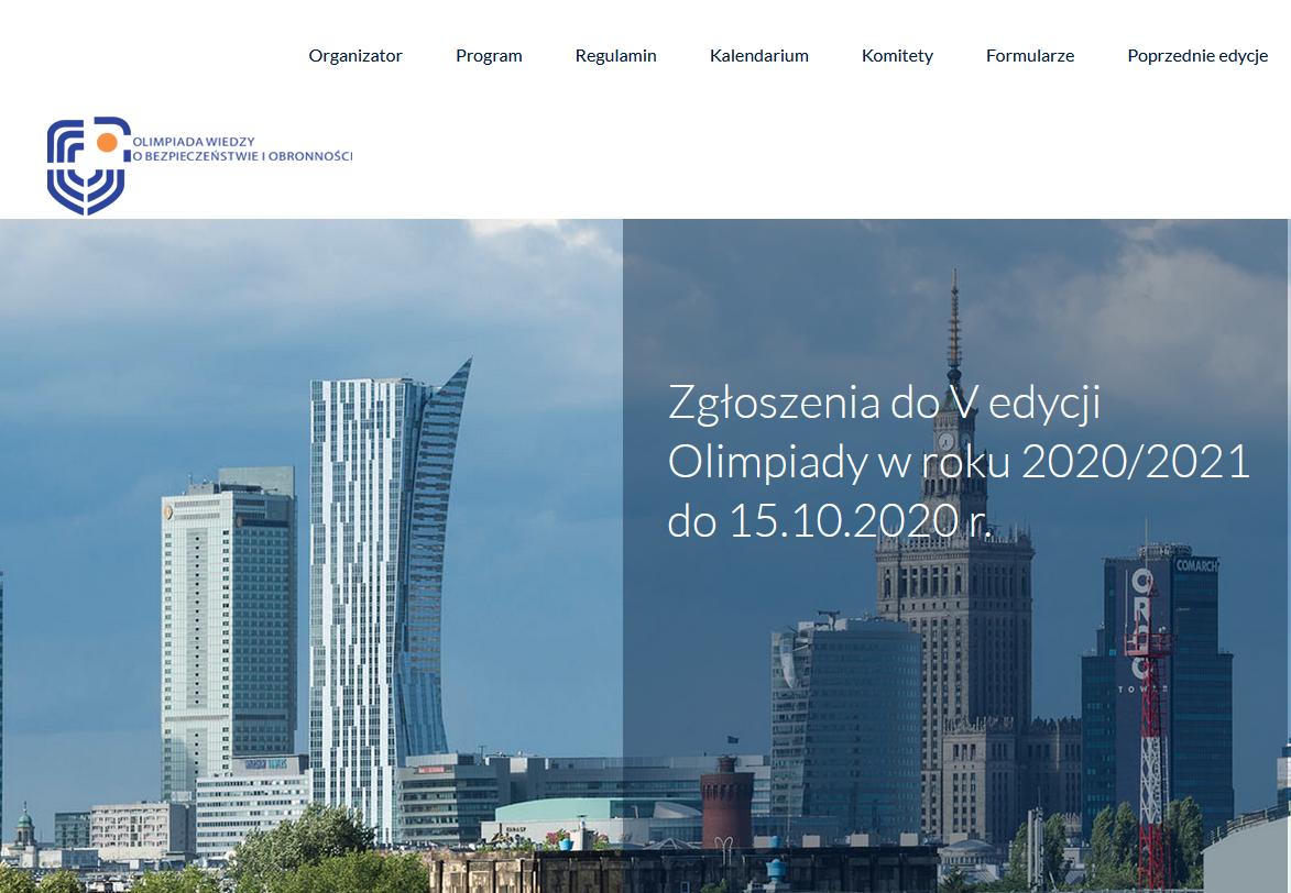 zrzut ekranu ze strony głównej olimpiady wiedzy o bezpieczeństwie i obronności