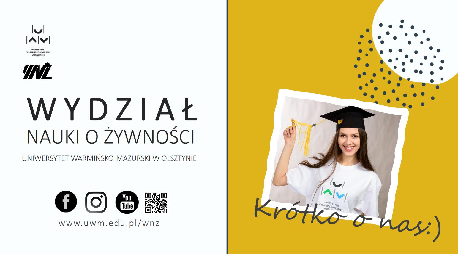 studentka w czapce rogatce na żółtym tle