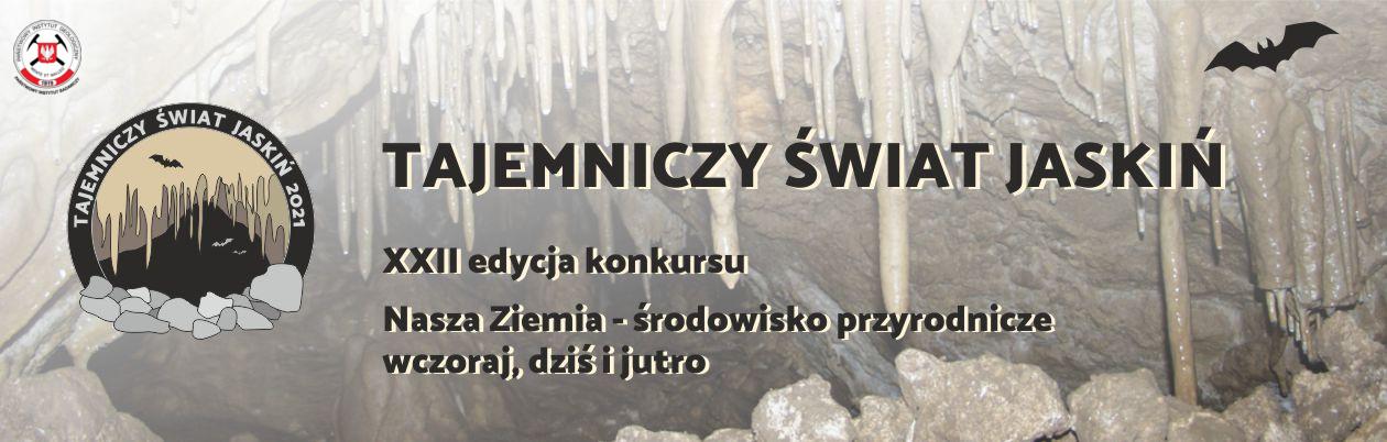 plakat prezentujący widok na jaskinie i nietoperza z tytułem konkursu