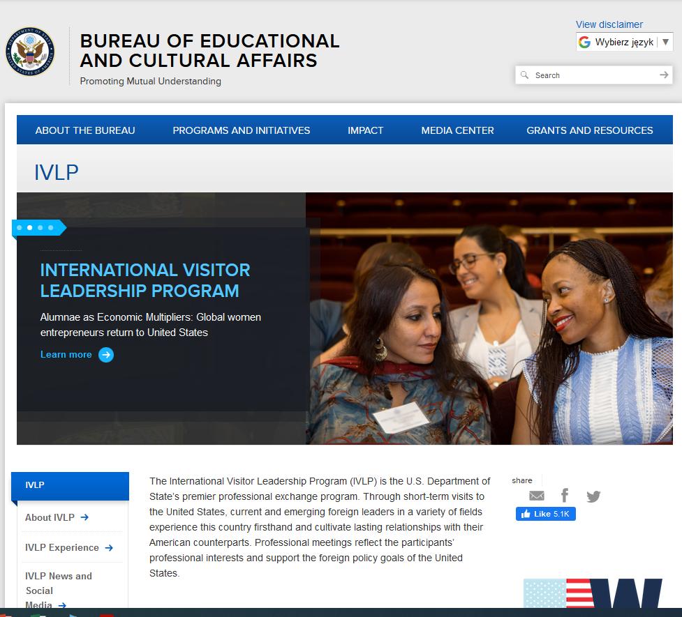 zrzut z ekranu The International Visitor Leadership Program