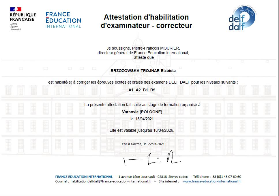 Certyfikat językowy Delf