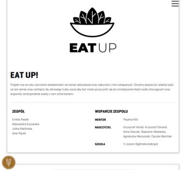 zrzut ekranu przedstawiający informacje na temat projektu Eat Up