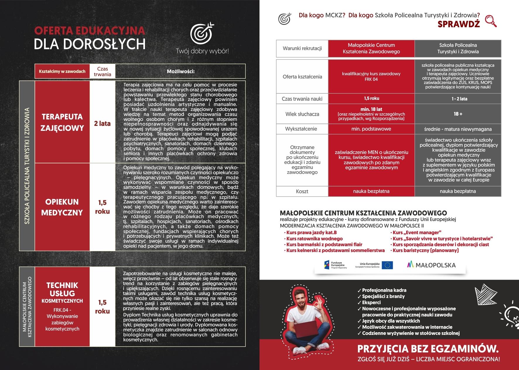 ulotka reklamowa prezentująca ofertę edukacyjną dla dorosłych w kolorach czerwieni, czerni i białego